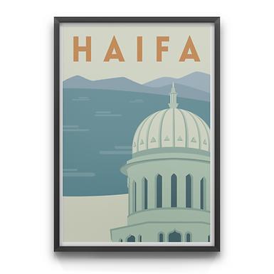 Haifa Bay and the Baha'i Tempel