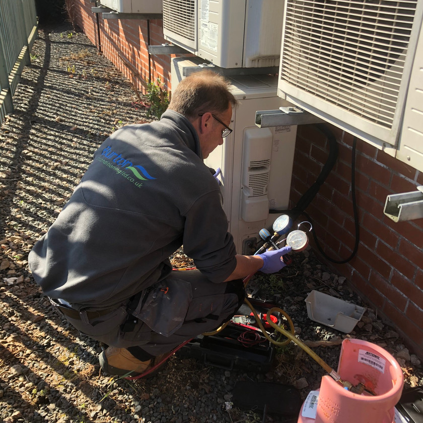 Outdoor unit being pressure tested