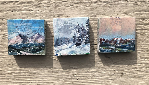 """Mountain Lovers"" set of 3, 2"" x 2"""