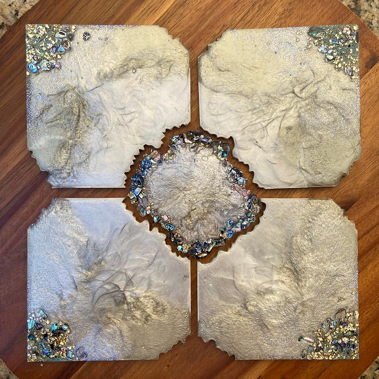 5 piece Champagne Gold and Paua Shell Coasters