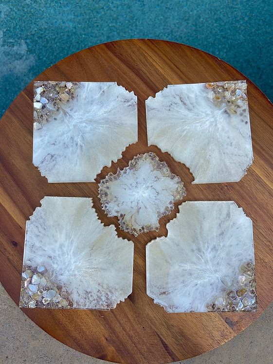 Crushed Shell 5 piece Coaster set
