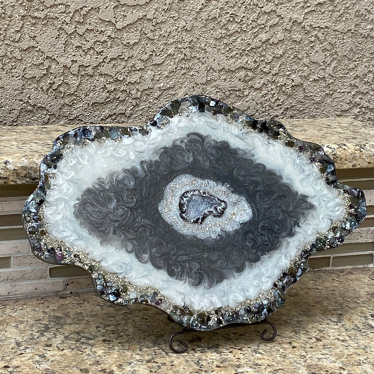 Geode Inspired Tray with Genuine Druzy