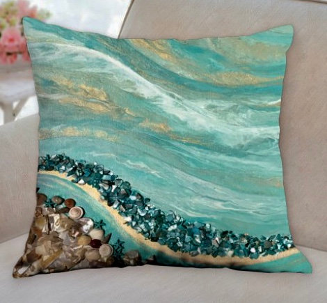 Shell Beach decorative print pillow