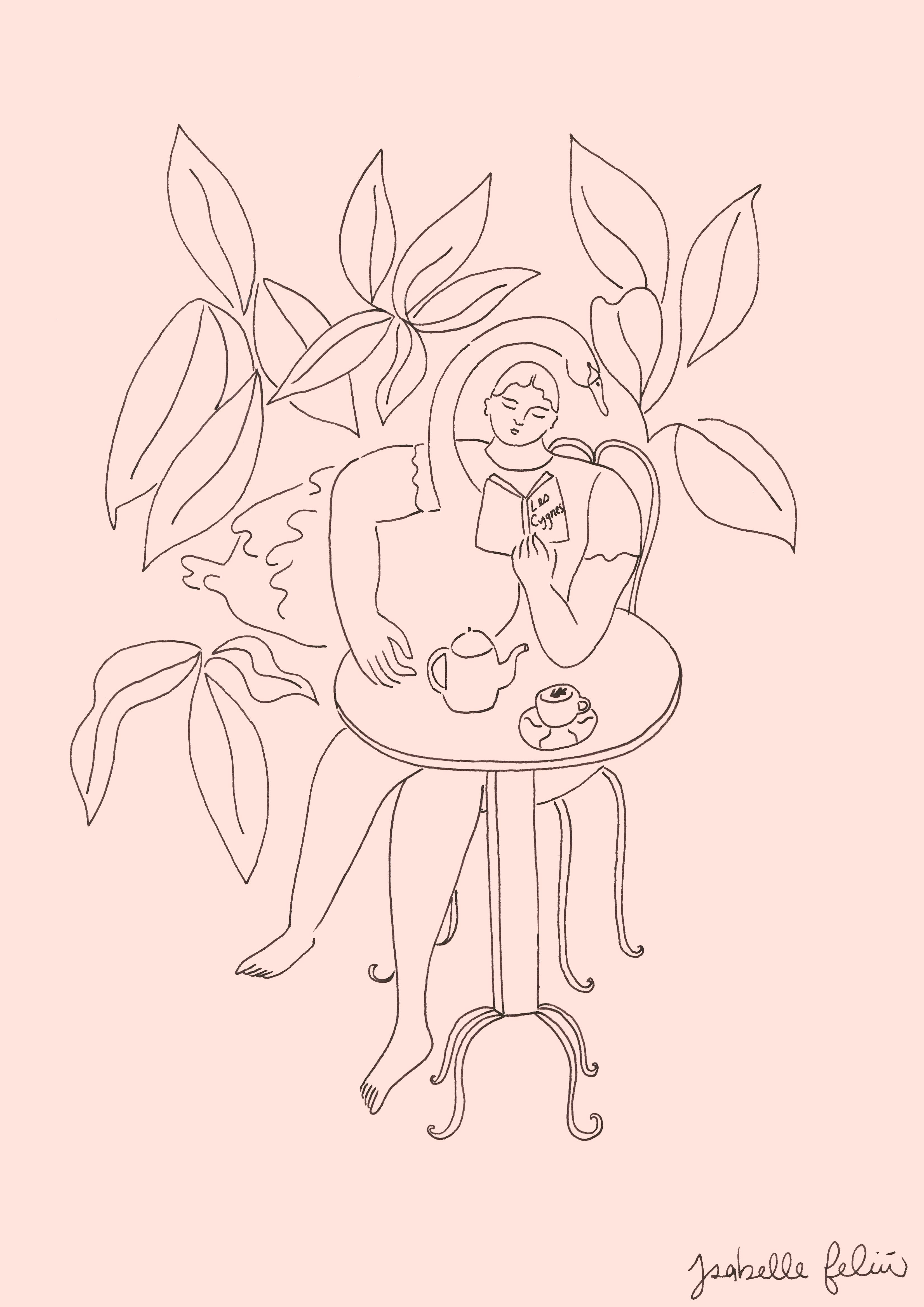 Coffee & a Swan print + original version