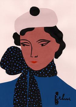 Jeune jeune femme au foulard à pois print copie