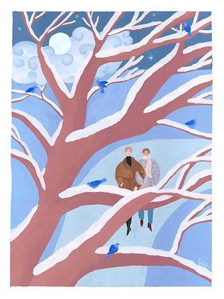 Little Birds of Winter - Original (46 x 61 cm)
