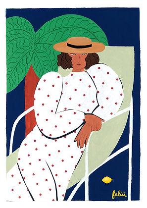 Canotier & robe à pois par une nuit d'été - Original (Approx. A3)