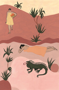 Sisters & Iguana by Isabelle Feliu