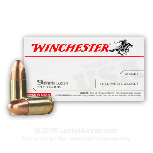 DONATE  500 Rounds -  9mm -  115 Grain FMJ - Winchester Ammo