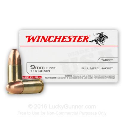 DONATE 100 Rounds - 9mm - 115 Grain FMJ - Winchester Ammo