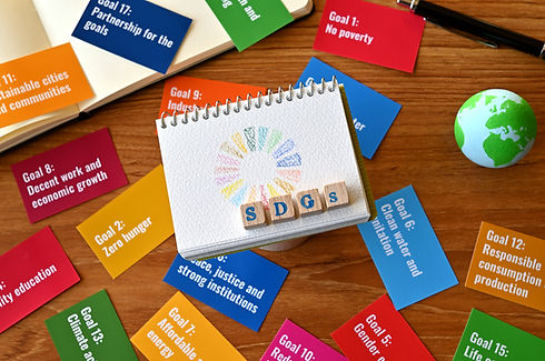 There is a table with a card with the SDG goals and a ball of earth, a small sketchbook wi