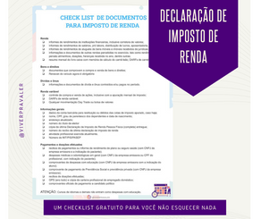 Declaração de Imposto de Renda 2020 - Checklist de documentos