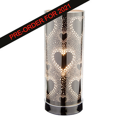 White-Silver Hearts Touch Lamp(Case of 6) Unit Price £8.95