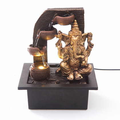 Ganesha with Water Cups Indoor Water Fountain with LED Light