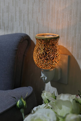 Gold Crackle Tulip Mosaic Wax Warmer(Case of 6) Unit Price £5.95