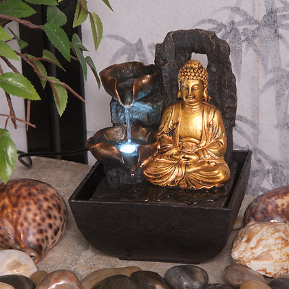 Mini Majestic Golden Buddha Fountain (18cm)
