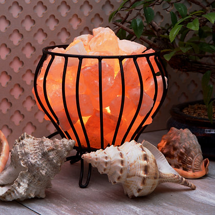 Iron Basket with Himalayan Salt Rocks 	(Case of 4) Unit Price £12.95
