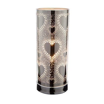 White-Silver Hearts Touch Lamp(Case of 6) Unit Price £9.60