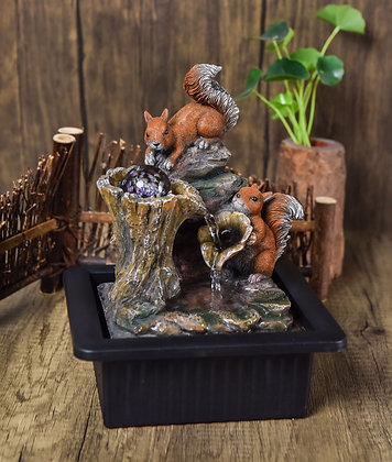Red Squirrels Indoor Water Fountain with LED Light