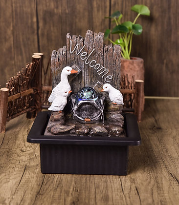 Duck Family Indoor Water Fountain with LED