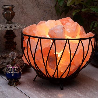 Criss-cross Basket with Himalayan Salt Rocks (Case of 4) Unit Price £12.95