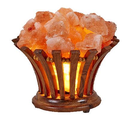 Wooden Flower Basket with Himalayan Salt Rocks