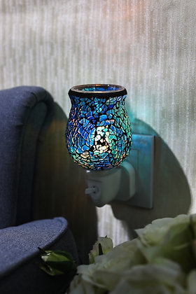 Cobalt Blue Crackle Tulip Mosaic Wax Warmer (case of 12) Unit Price £5.95