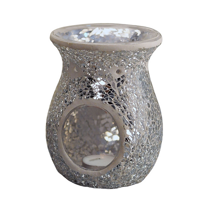 Silver Crackle Mosaic Tealight Burner (Case of 6) Unity Price £6.95