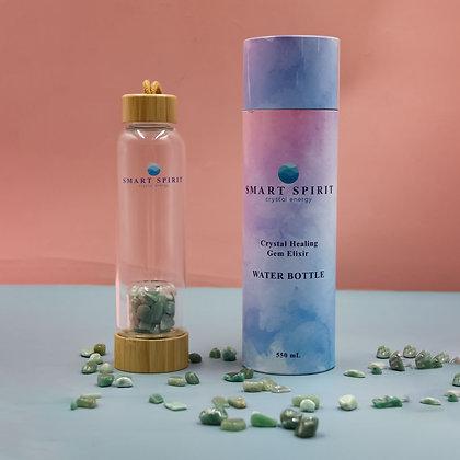 Crystal-Infused Water Bottle-Green Aventurine Quartz -Bamboo