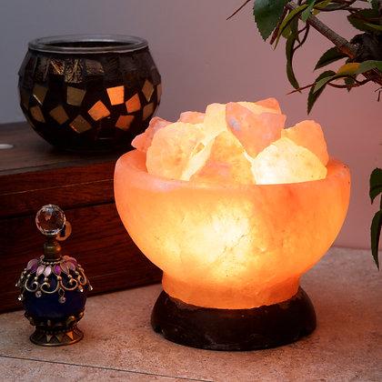 Rock Salt Bowl Lamp with Fire Rocks