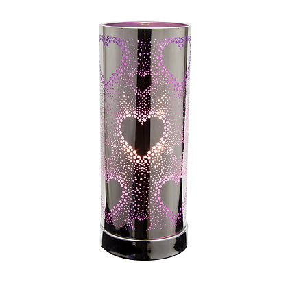 Purple-Silver Hearts Touch Lamps (Case of 6) Unit Price £8.95