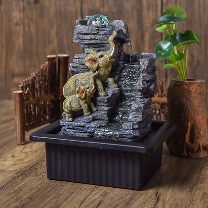 Elephant Quest Indoor Water Fountain with LED Light