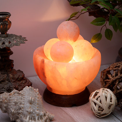 Rock Salt Bowl Lamp (2-3 kg) with Massage Balls