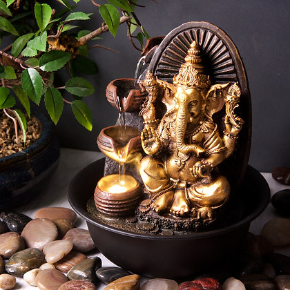 Golden Ganesha with Round Bowl (Case of (6) Unit Price £14.95
