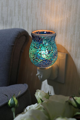 Aqua Teal Crackle Mosaic Wax Warmer