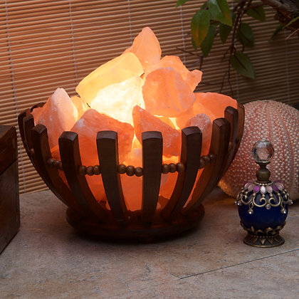 Wooden Basket with Himalayan Salt Rocks (Case of 4) Unit Price £12.95