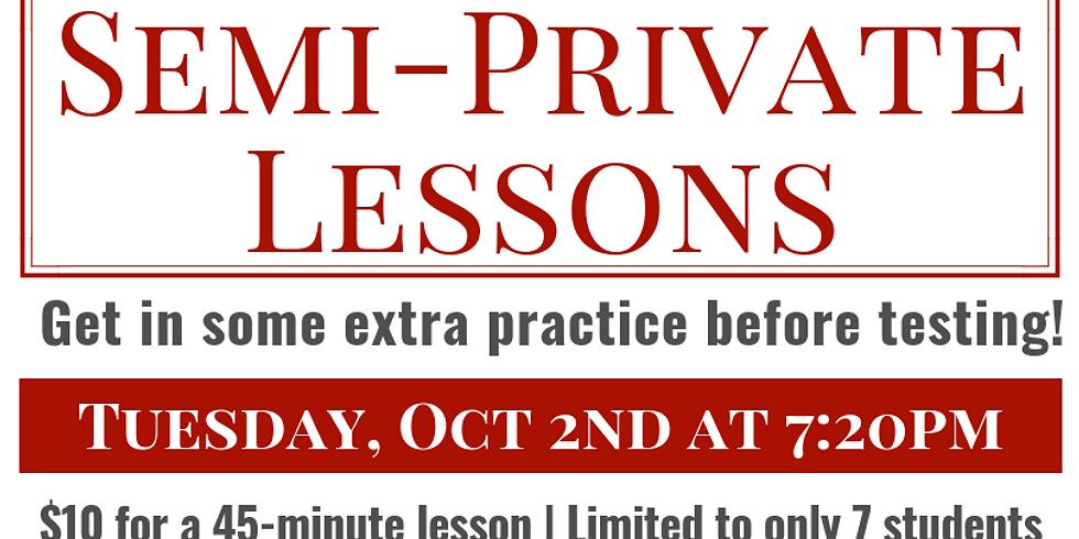 Semi-Private Lesson - October 2nd - $10