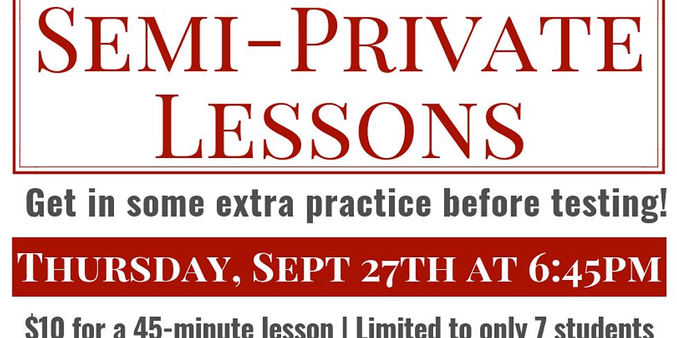 Semi-Private Lesson - September 27th - $10