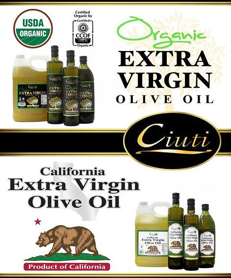 Ciuti Organic and CA Extra Virgin Olive Oils California