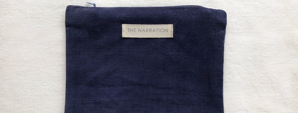 Navy Blue Corduroy Pouch