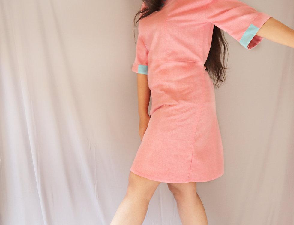 Pink + Blue Chambray Dress