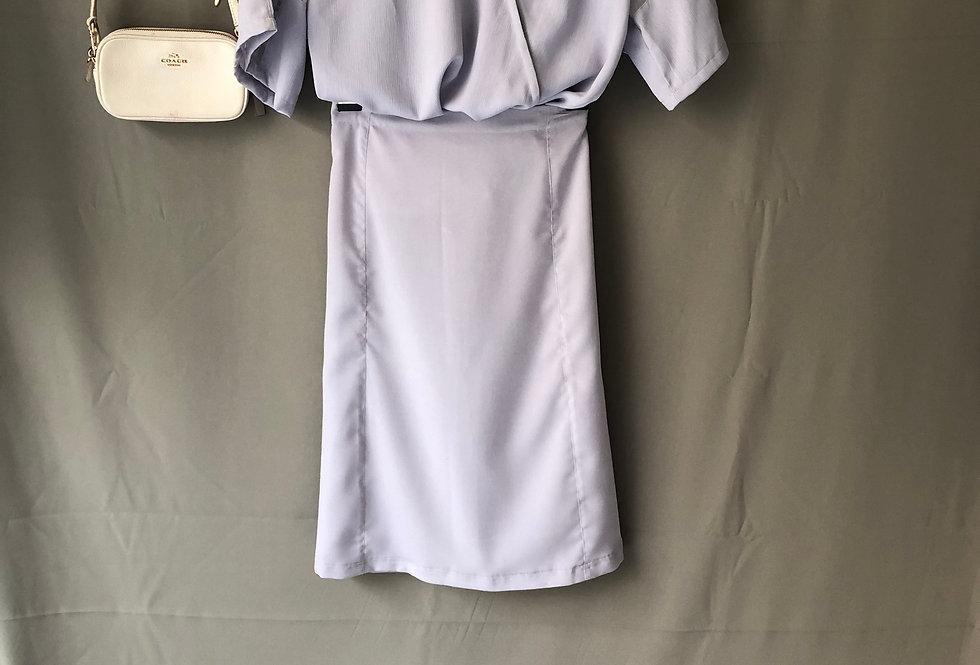 Light Purple Crepe Top + Light Purple Skirt