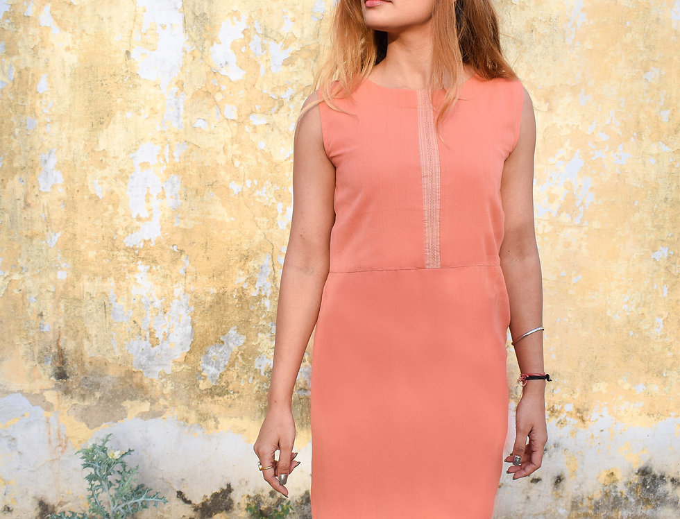 Sleeveless Peach Crepe Top With Textured Panels