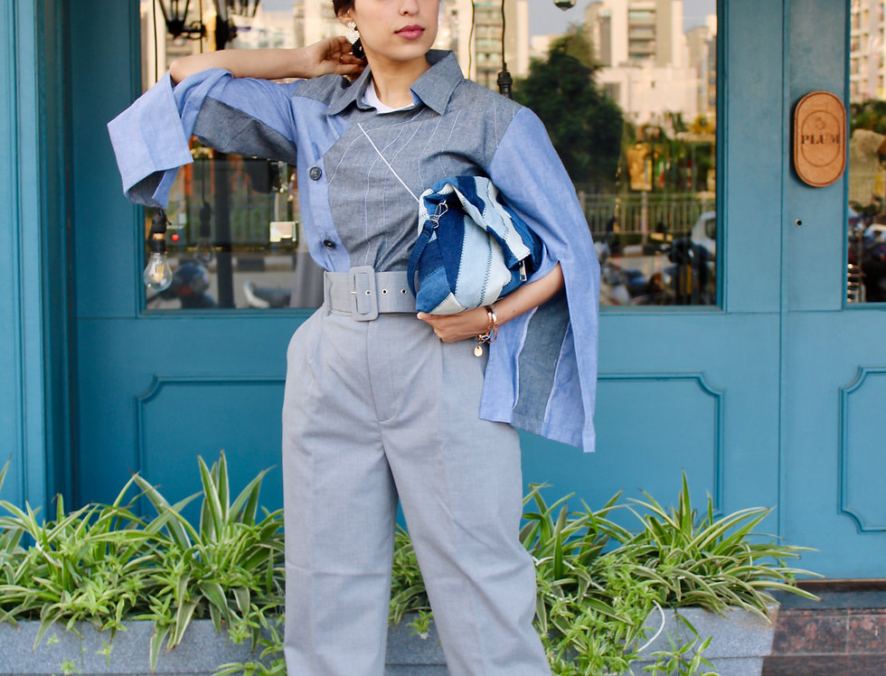 Blue Grey Shirt with Contrast Detailing and Sleeve Slit