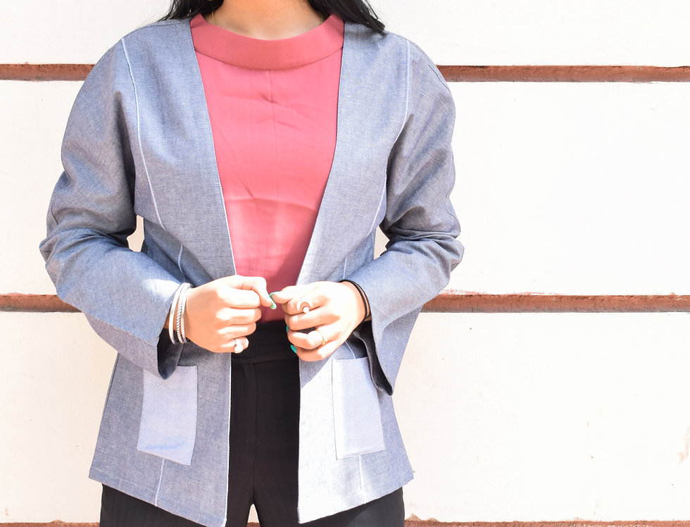 Grey Chambray Front Open Shrug with Pocket Detailing