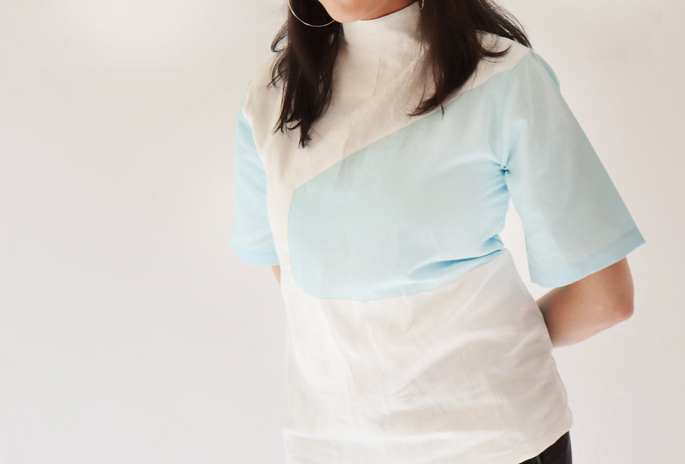 Sky Blue+ White High Collar Linen Top