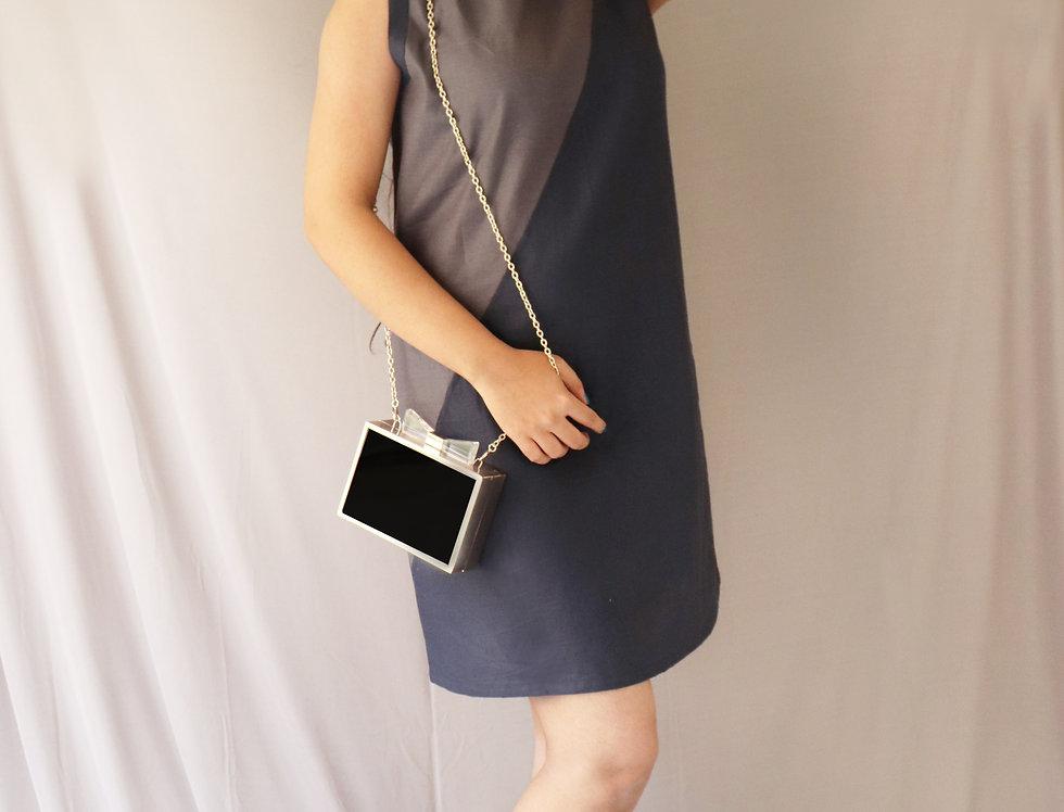 Grey + Navy Sleeveless Linen Dress