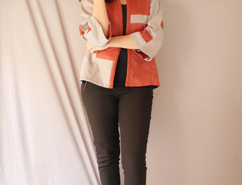Grey + Orange Front Open Suede Jacket