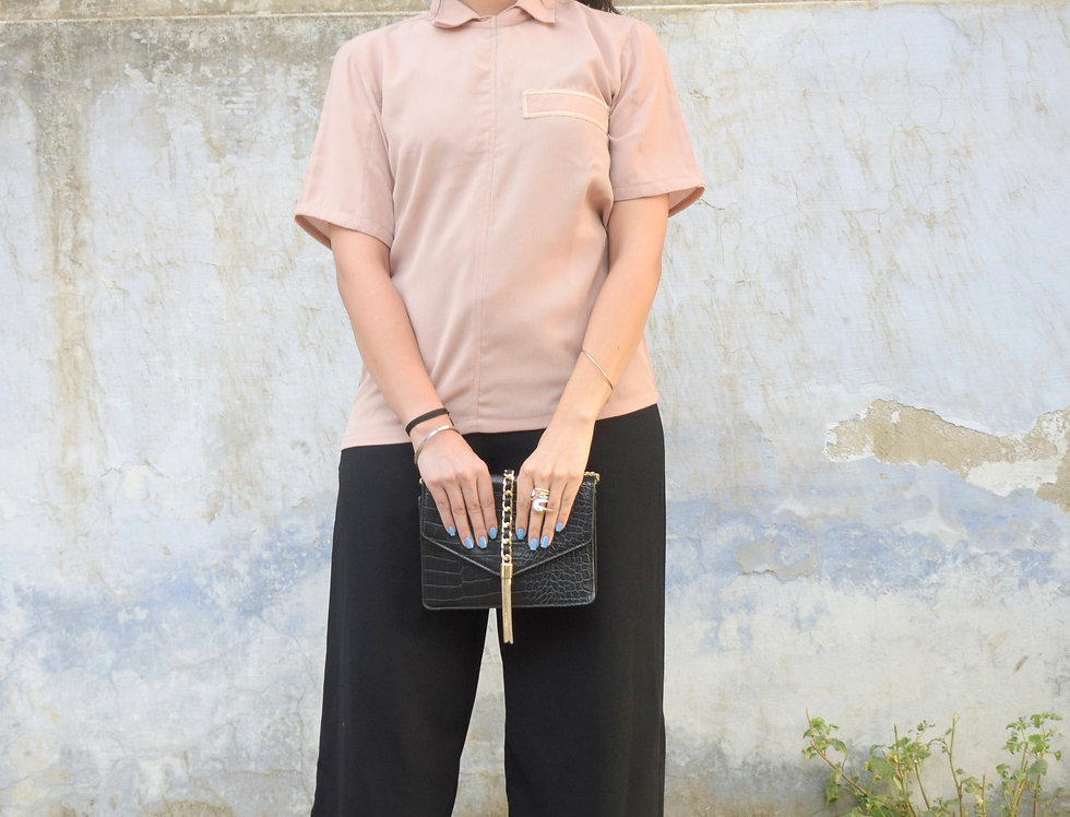 Peach Shirt with Color Blocked Piping Detail