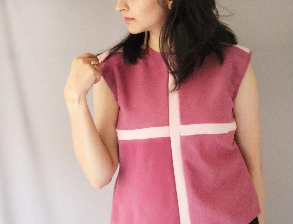 Pink + Purple Sleeveless Crepe Top